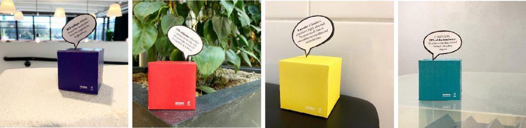Bild som visar exempel på några av de kuber som skapades.