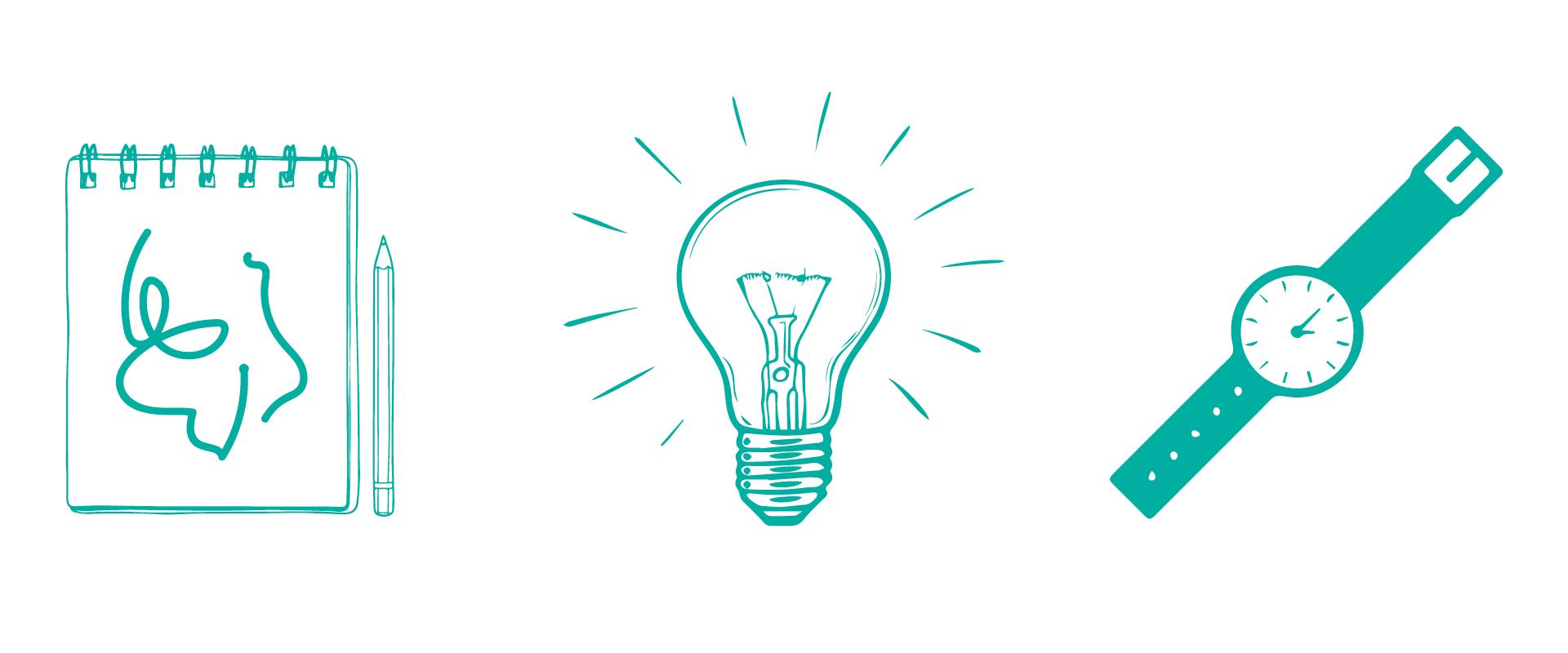 Illustratoner av ett block, en glödlampa och en klocka