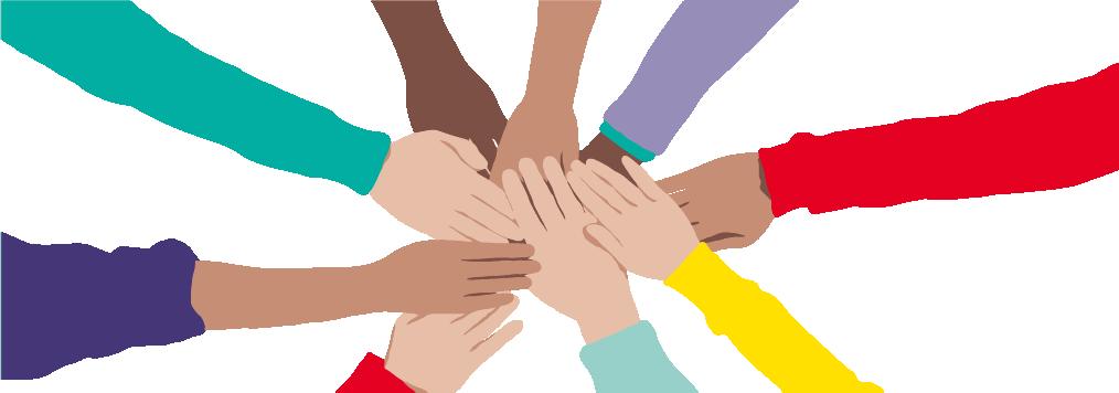Illustration föreställande händer som möts i mitten
