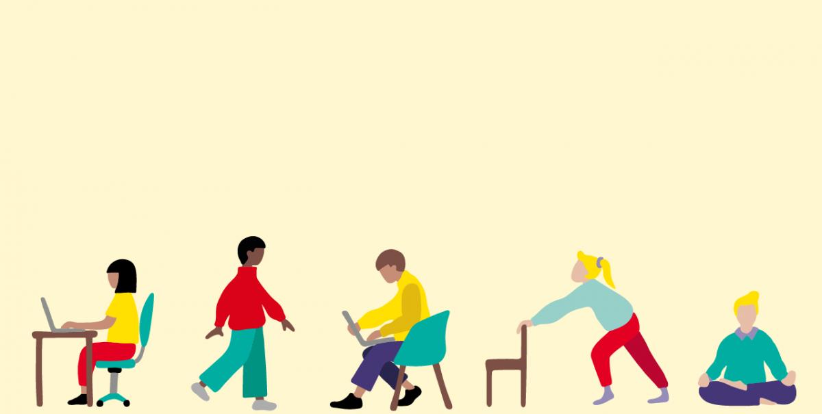 Illustration av 5 olika personer som arbetar med Hoffice