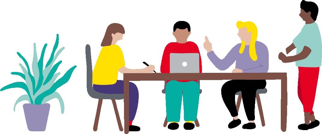 Illustration av 4 personer som sitter i ett möte