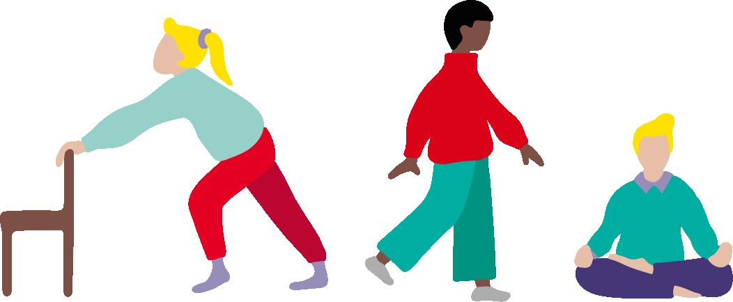 Tre tecknade figurer som pausar